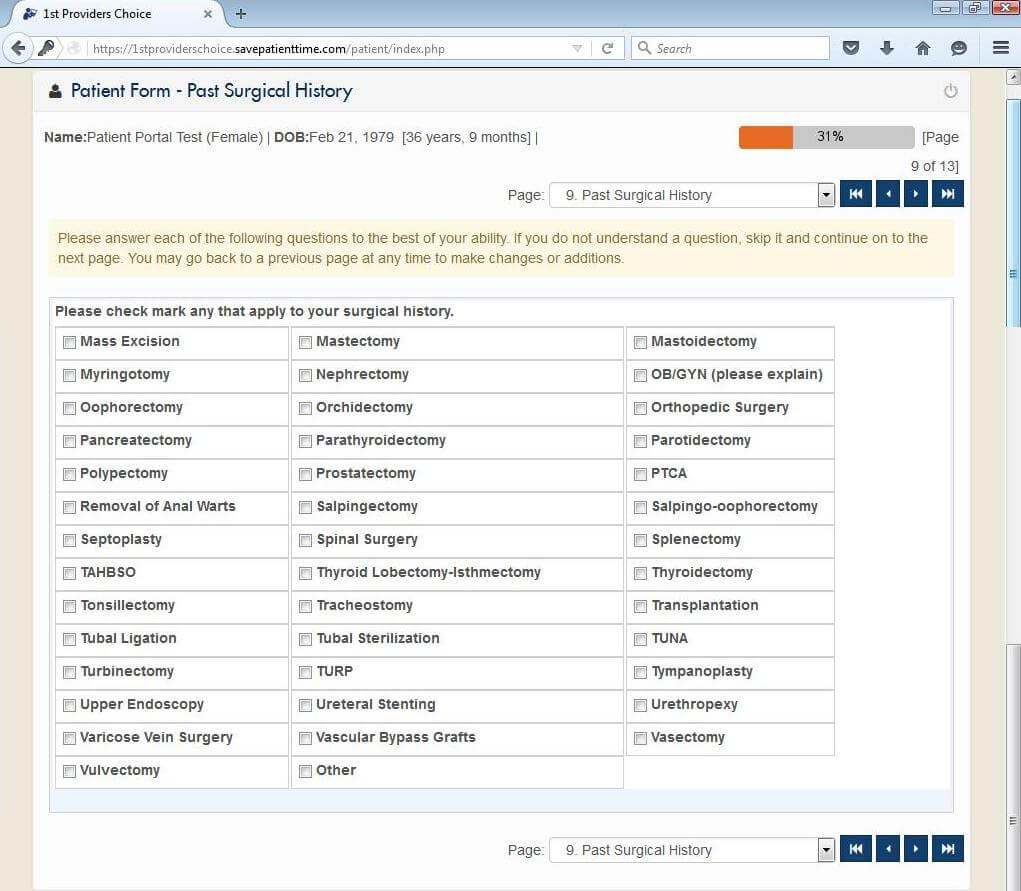 Otorhinolaryngology Patient Portal Past Surgical History Input Screen