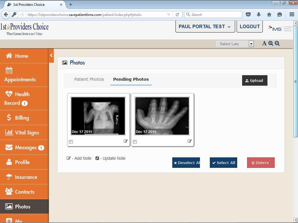 Pediatric Patient Portal Patient Photos