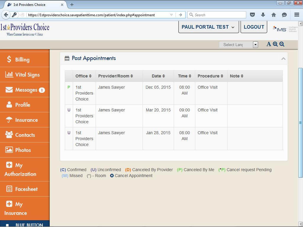 Physical Therapy Patient Portal My Appointments Past & Future