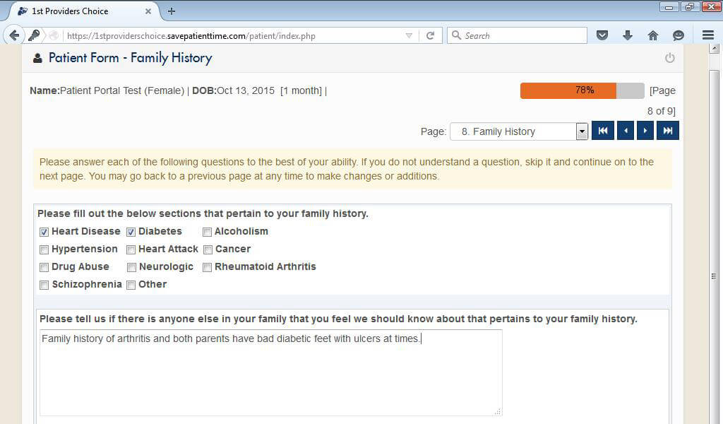 Urgent Care Patient Portal Medical History Family History