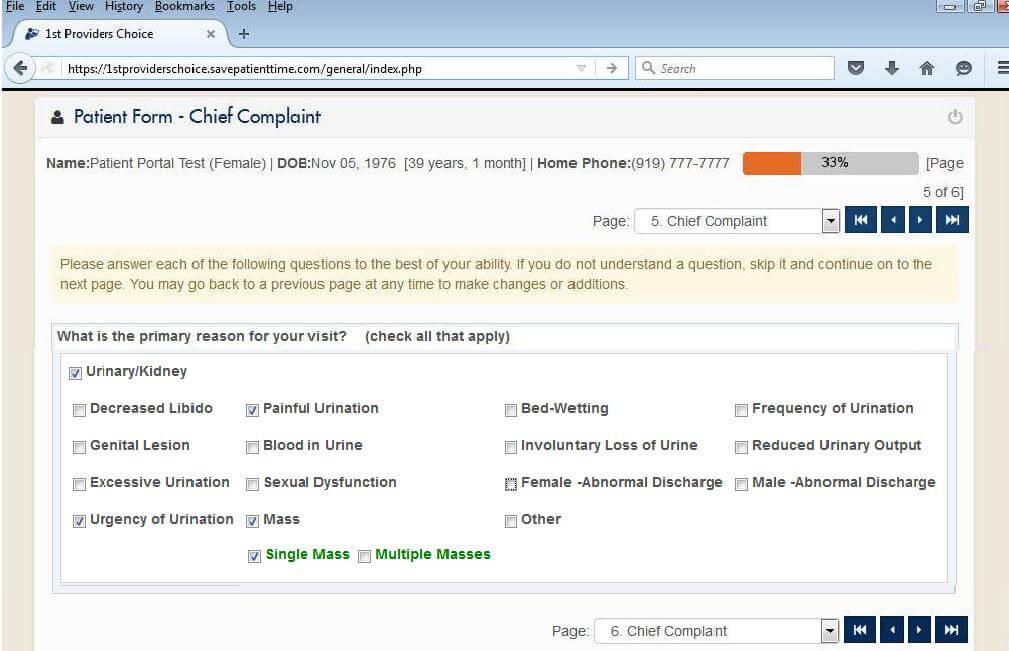 Urology Patient Portal Chief Complaint Input Screen