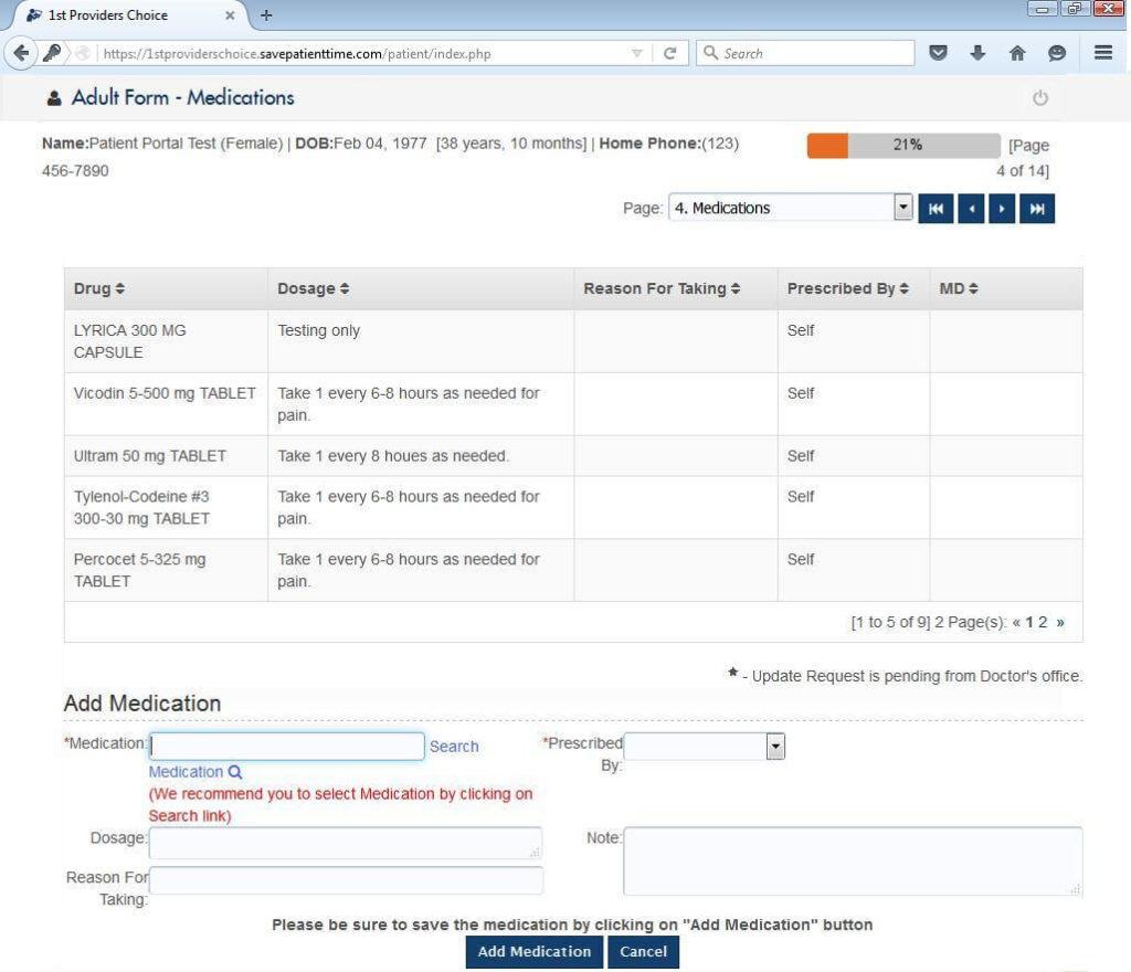Urology Patient Portal Current Medications Input Screen