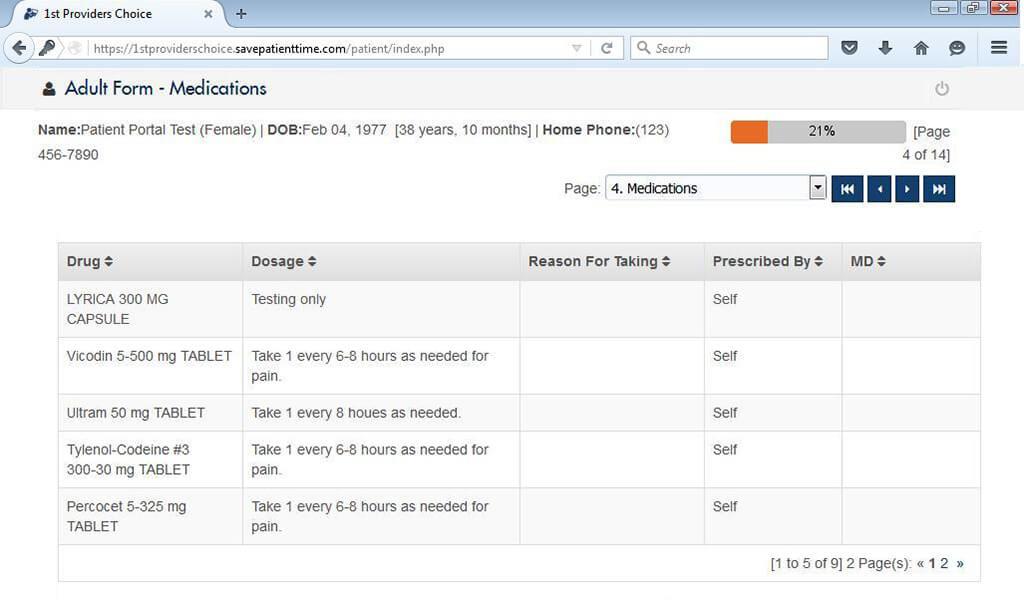 Urology Patient Portal Patient Information Input Screen